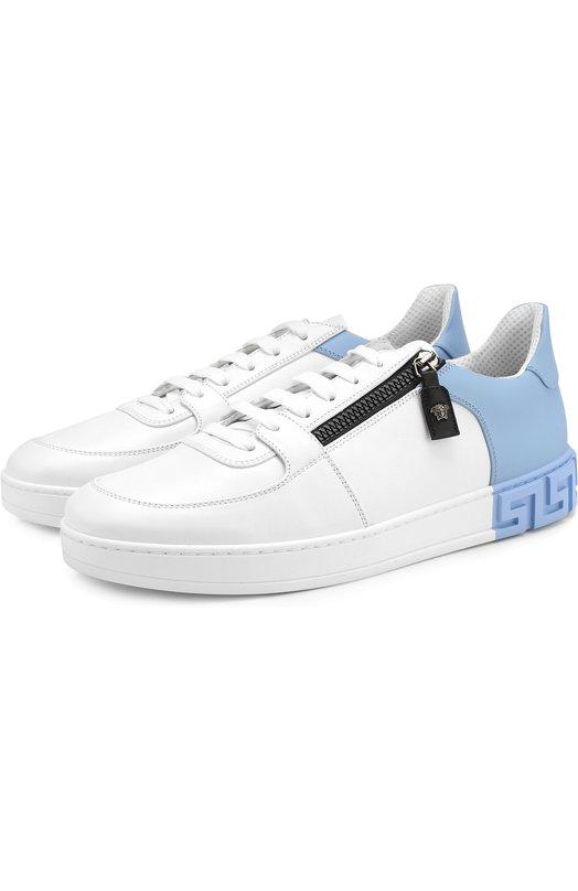Купить Кожаные кеды на шнуровке с молнией Versace, DSU6272/D8VMG, Италия, Белый, Кожа натуральная: 100%; Стелька-кожа: 100%; Подошва-резина: 100%;