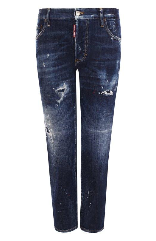 Купить Укороченные джинсы прямого кроя с потертостями Dsquared2, S75LA0991/S30342, Италия, Синий, Хлопок: 98%; Эластан: 2%;