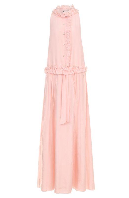 Купить Платье-макси из смеси хлопка и шелка с оборками Lanvin, RW-DR371U-3741-P18, Мадагаскар, Розовый, Хлопок: 65%; Шелк: 35%; Подкладка-хлопок: 100%;