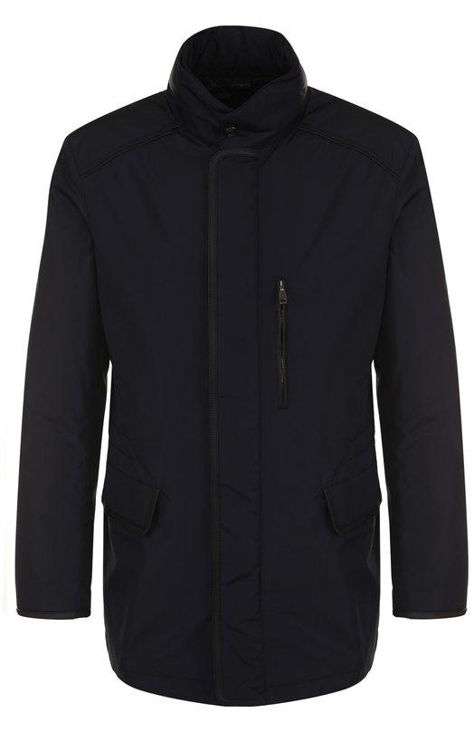 Купить Куртка на молнии с воротником-стойкой Brioni, SFMZ0L/P7805, Италия, Темно-синий, Полиамид: 98%; Полиуретан: 2%; Отделка - Кожа: 100%;
