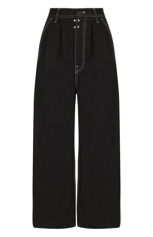 Купить Укороченные широкие джинсы Mm6, S52KA0138/S48447, Италия, Черный, Хлопок: 100%;