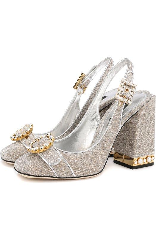 Купить Туфли Keira из металлизированного текстиля на устойчивом каблуке Dolce & Gabbana, CG0263/AS985, Италия, Серебряный, Полиэстер: 40%; Кожа натуральная: 4%; Хлопок: 30%; Шерсть: 26%; Стелька-кожа: 100%; Подошва-кожа: 100%;