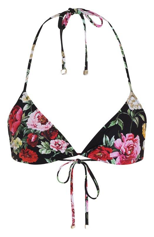 Купить Треугольный бра с контрастным цветочным принтом Dolce & Gabbana, 01A00J/FSGL3, Италия, Черный, Полиамид: 75%; Эластан: 25%;