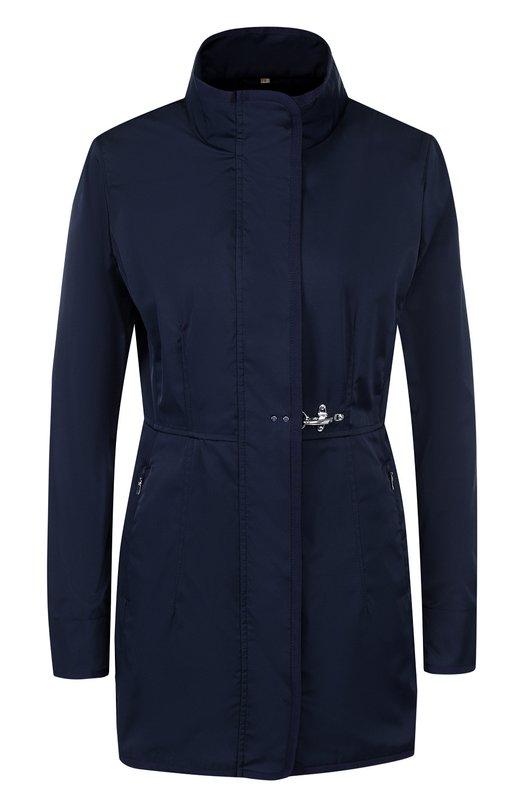 Купить Однотонное приталенное пальто с воротником-стойкой Fay, NAW50363590, Италия, Темно-синий, Отделка-вискоза: 60%; Отделка-хлопок: 40%; Полиэстер: 100%;