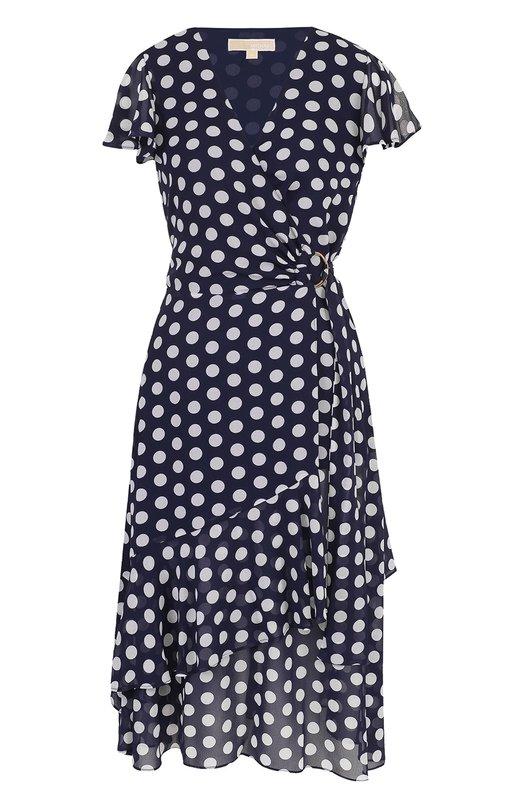 Купить Приталенное платье-миди в горох MICHAEL Michael Kors, MS88XST8MU, Китай, Синий, Полиэстер: 100%; Подкладка-полиэстер: 100%;