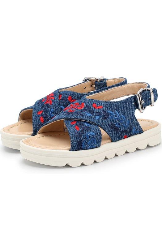 Текстильные сандалии с вышивкой Ermanno Scervino