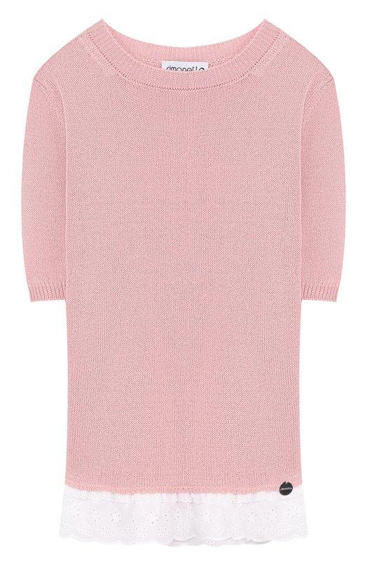 Купить Хлопковый пуловер с кружевной отделкой Simonetta, 1I9003/IC950/12-16, Италия, Розовый, Хлопок: 100%;