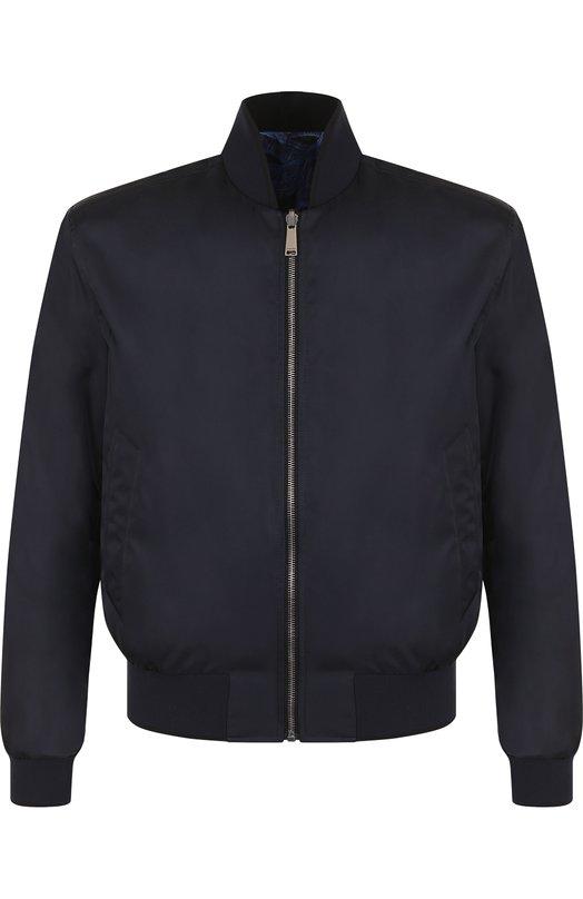 Купить Бомбер на молнии с воротником-стойкой Versace, A78308/A224537, Италия, Темно-синий, Полиамид: 100%; Подкладка-полиэстер: 100%;