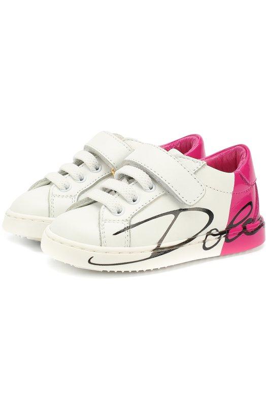 Кожаные кеды на шнуровке с застежками велькро и контрастной отделкой Dolce & Gabbana