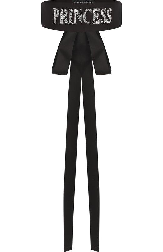 Шелковый пояс с бантом и вышивкой из бисера Dolce & Gabbana, FB282Z/GDBBU, Италия, Черный, Шелк: 100%;  - купить