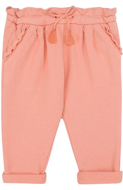 Купить Хлопковые брюки на кулиске Chloé, C04112/3M-18M, Тунис, Розовый, Хлопок: 100%;