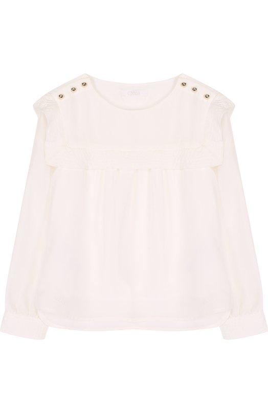 Купить Шелковая блуза свободного кроя с оборкой Chloé, C15684/14A, Китай, Белый, Шелк: 100%; Подкладка-вискоза: 100%;