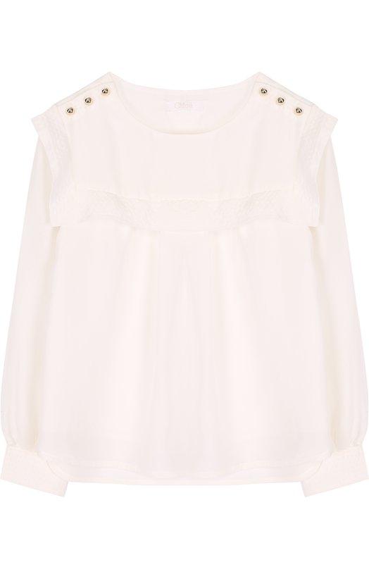 Купить Шелковая блуза свободного кроя с оборкой Chloé, C15684/6A-12A, Китай, Белый, Шелк: 100%; Подкладка-вискоза: 100%;
