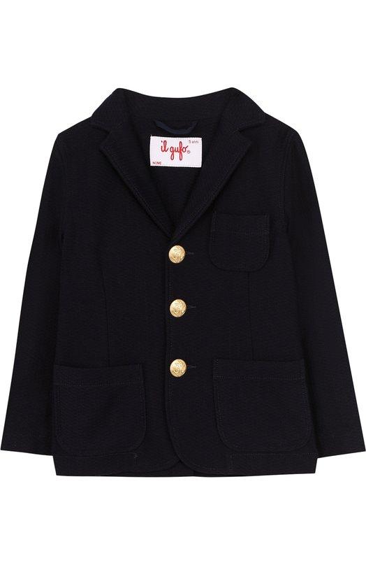 Однобортный пиджак из хлопка с декоративными пуговицами Il Gufo