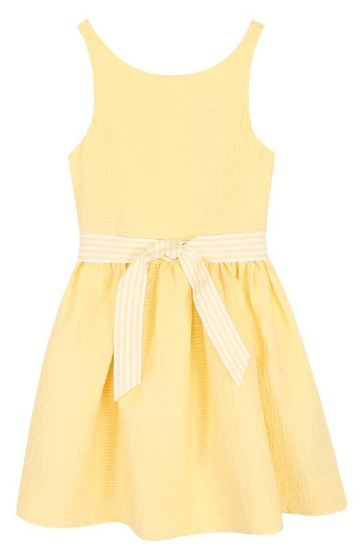 Купить Хлопковое платье с широким поясом Polo Ralph Lauren, 313688413, Китай, Желтый, Хлопок: 100%;