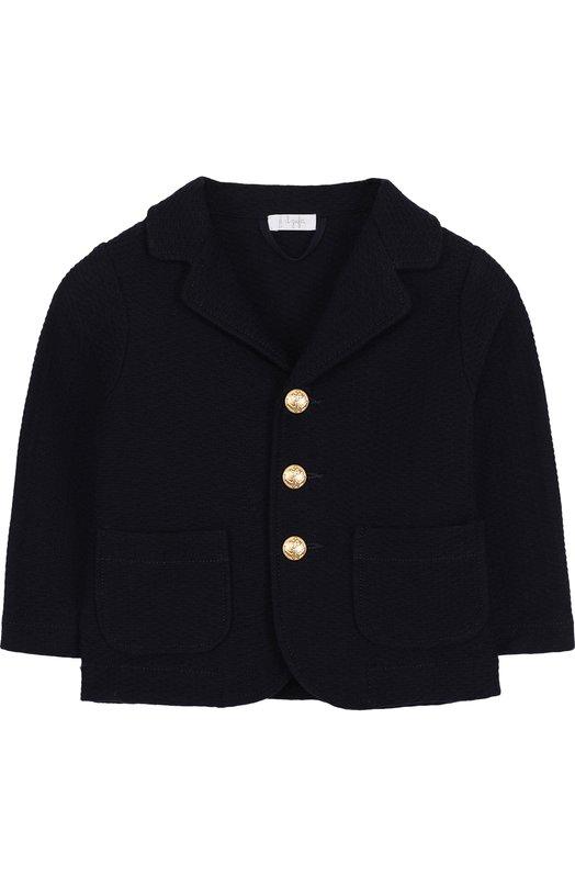 Купить Однобортный пиджак из хлопка с декоративными пуговицами Il Gufo, P18BF156M0090/2A-4A, Хорватия, Синий, Хлопок: 100%;