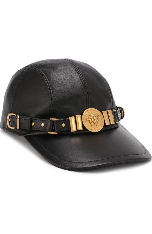 Купить Кожаная бейсболка с декором в виде логотипа бренда Versace, ICAP005/IP00064, Италия, Черный, Кожа натуральная: 100%; Подкладка-полиэстер: 100%;