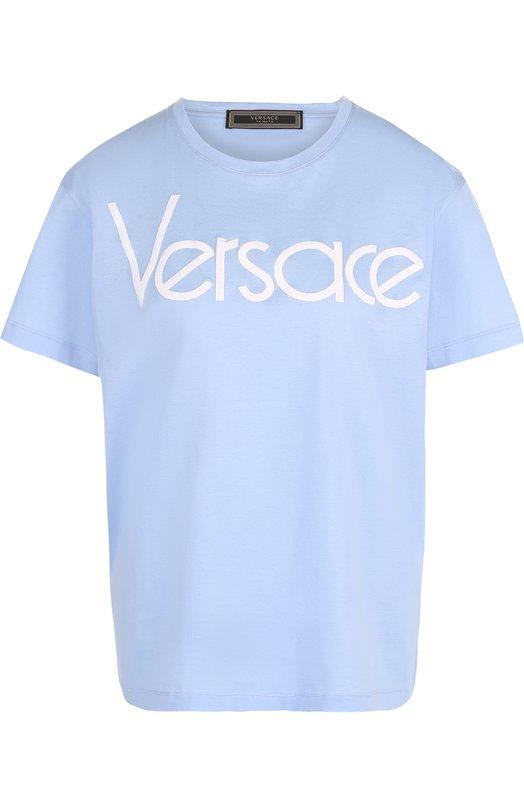 Купить Хлопковая футболка с контрастным логотипом бренда Versace, A79760/A201952, Италия, Голубой, Хлопок: 100%;