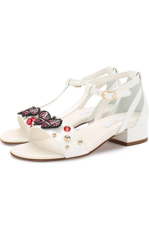 Купить Кожаные босоножки на ремешке с заклепками Dolce & Gabbana, D10712/AL973/29-36, Италия, Белый, Кожа натуральная: 100%; Стелька-кожа: 100%; Подошва-кожа: 100%;