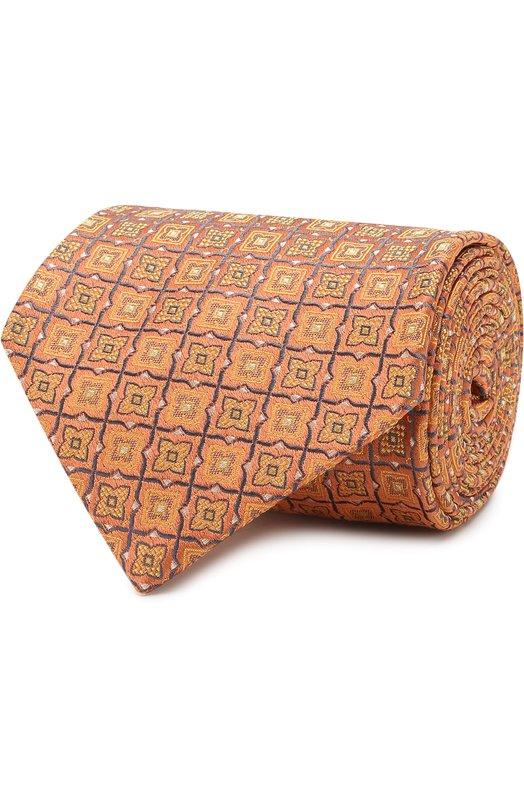 Купить Шелковый галстук с узором Brioni, 063I00/P7440, Италия, Оранжевый, Шелк: 100%;