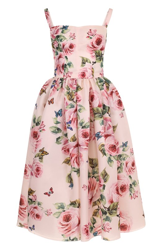 Купить Шелковое приталенное платье-миди с цветочным принтом Dolce & Gabbana, F67N0T/HS1P7, Италия, Розовый, Подкладка-полиамид: 8%; Подкладка-шелк: 70%; Подкладка-эластан: 5%; Подкладка-хлопок: 15%; Шелк: 100%;