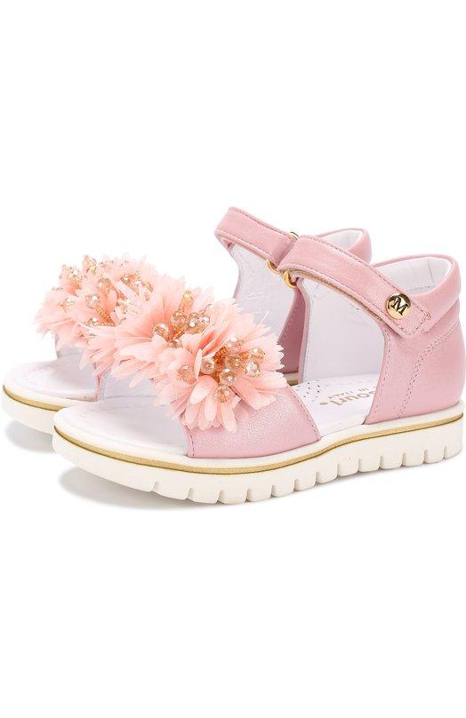 Кожаные сандалии с застежками велькро и цветочным декором Missouri