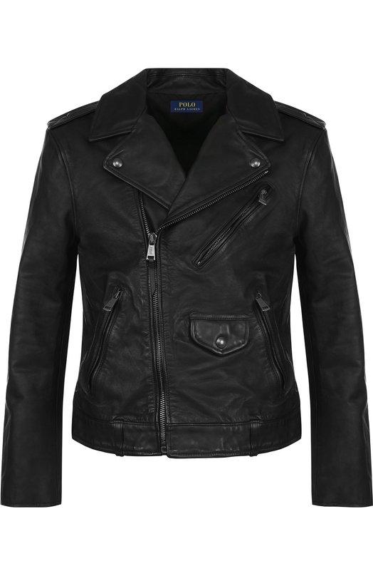 Купить Кожаная куртка на молнии с отложным воротником Polo Ralph Lauren, 710689241, Индия, Черный, Подкладка-купра: 51%; Подкладка-хлопок: 49%; Кожа натуральная: 100%;
