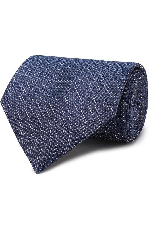 Купить Шелковый галстук с узором Brioni, 063I00/P7438, Италия, Темно-синий, Шелк: 100%;