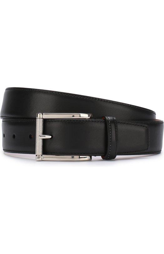 Купить Кожаный ремень с металлической пряжкой Santoni, CM35V0003A47E0BRN01, Италия, Черный, Кожа натуральная: 100%; Пряжка-мет.сплав: 100%;