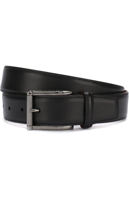Купить Кожаный ремень с металлической пряжкой Santoni, CM35V0003A47G0BRN01, Италия, Черный, Кожа натуральная: 100%; Пряжка-мет.сплав: 100%;