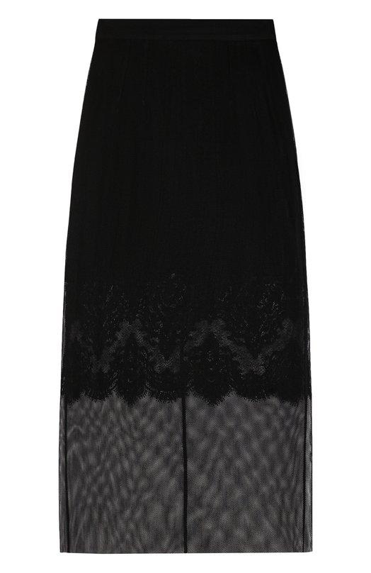 Купить Однотонная полупрозрачная юбка-миди Dolce & Gabbana, F4BBLT/FLMVS, Италия, Черный, Подкладка-полиамид: 6%; Подкладка-шелк: 54%; Полиэстер: 50%; Хлопок: 50%; Подкладка-хлопок: 28%; Подкладка-полиэстер: 12%;