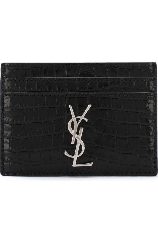 Купить Кожаный футляр для кредитных карт с логотипом бренда Saint Laurent, 423303/DND0N, Италия, Черный, Кожа натуральная: 100%;