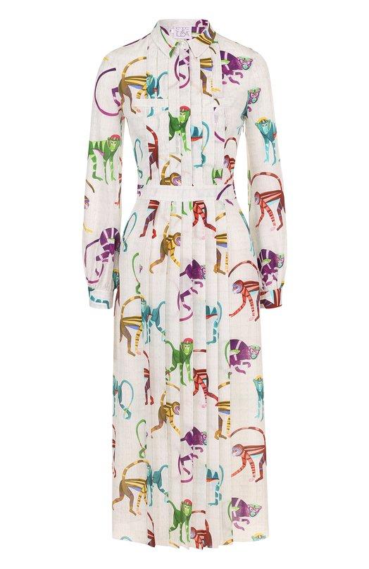 Купить Приталенное шелковое платье-рубашка с принтом Stella Jean, J V 042 01 T 9387, Италия, Разноцветный, Шелк: 100%;
