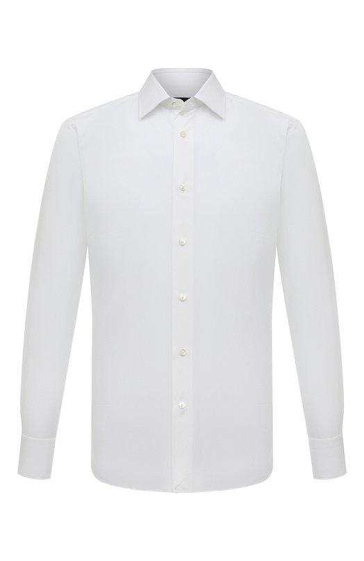 Купить Хлопковая сорочка с воротником кент Ermenegildo Zegna, 303990/9MS0PA, Румыния, Белый, Хлопок: 100%;
