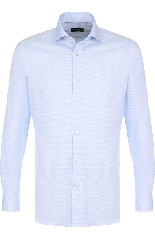 Купить Хлопковая сорочка с воротником акула Z Zegna, 301262/9MS0BA, Румыния, Голубой, Хлопок: 100%;