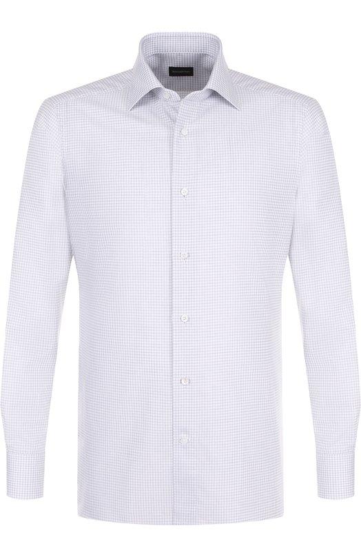 Купить Хлопковая сорочка с воротником кент Ermenegildo Zegna, 301583/9MS0BR, Румыния, Серый, Хлопок: 100%;
