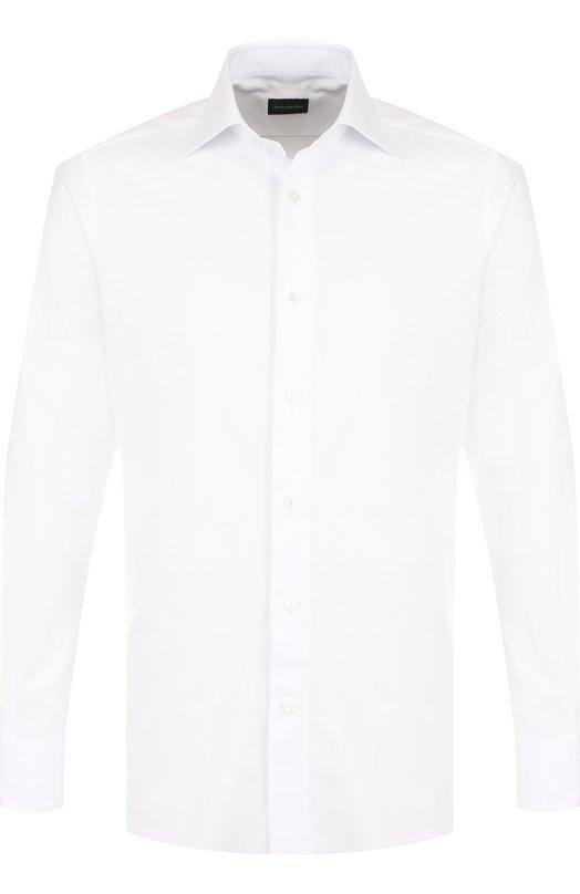 Купить Хлопковая сорочка с воротником кент Ermenegildo Zegna, 303901/9MS0BR, Румыния, Белый, Хлопок: 100%;