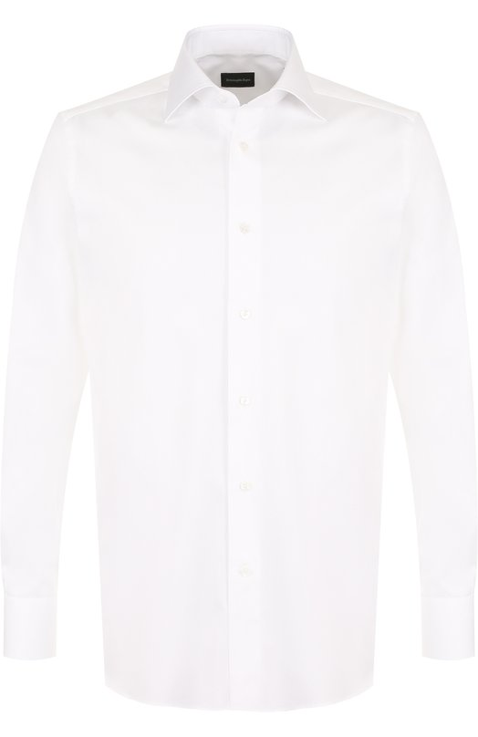 Купить Хлопковая сорочка с воротником кент Ermenegildo Zegna, 304001/9MS0BR, Румыния, Белый, Хлопок: 100%;