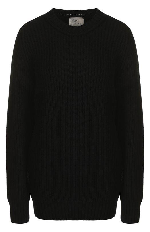 Купить Однотонный кашемировый пуловер с круглым вырезом Hillier Bartley, KN 161 CASHMERE, Великобритания, Черный, Кашемир: 100%;