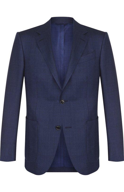 Купить Однобортный пиджак из смеси шерсти и шелка Ermenegildo Zegna, 349097/10H220, Испания, Темно-синий, Шерсть: 60%; Шелк: 30%; Лен: 10%;
