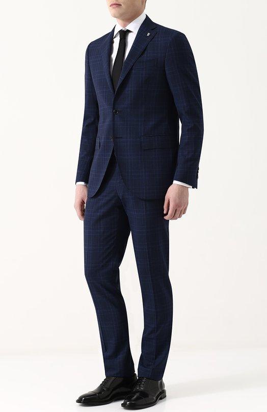 Купить Шерстяной костюм с пиджаком на двух пуговицах Sartoria Latorre, A057EF Q31372, Италия, Темно-синий, Шерсть: 100%; Подкладка-купра: 100%;