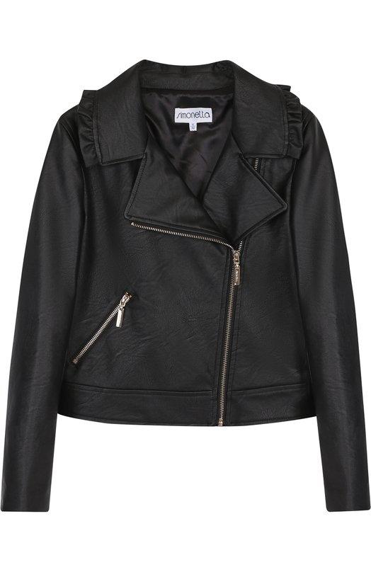Купить Кожаная куртка с косой молнией и оборками Simonetta, 1I2011/IX420/12-16, Китай, Черный, Вискоза: 50%; Полиуретан: 50%; Подкладка-вискоза: 100%;