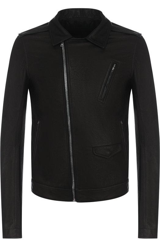 Купить Кожаная куртка с косой молнией и воротником-стойкой Rick Owens, RU18S5764/LCW, Италия, Черный, Подкладка-хлопок: 72%; Подкладка-шелк: 28%; Кожа натуральная: 100%;
