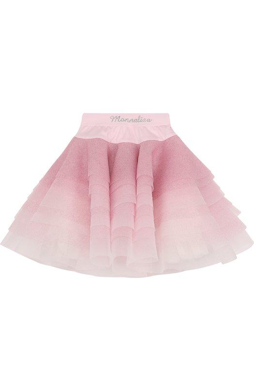 Купить Многослойная юбка с глиттером и стразами на поясе Monnalisa, 771700, Италия, Розовый, Полиэстер: 100%; Подкладка-хлопок: 100%; Отделка-полиамид: 100%;