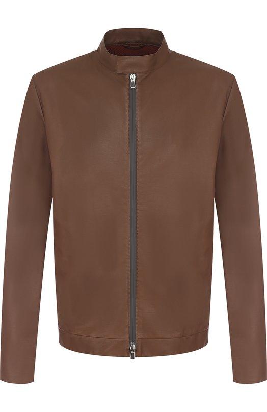 Купить Кожаная куртка с воротником-стойкой Loro Piana, FAI1196, Италия, Коричневый, Подкладка-полиэстер: 75%; Подкладка-эластан: 25%; Кожа натуральная: 100%;