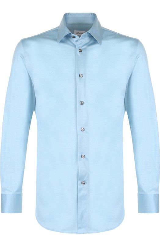 Купить Хлопковая рубашка с воротником кент Brioni, UJ5Z13/PZ600, Италия, Голубой, Хлопок: 100%;