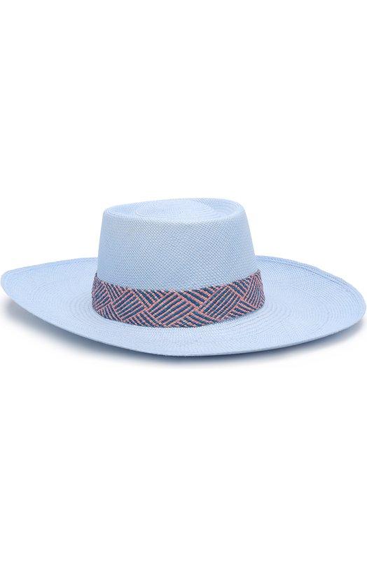 Купить Соломенная шляпа с плетеной лентой Artesano, P0W312, Эквадор, Голубой, Соломка: 100%;