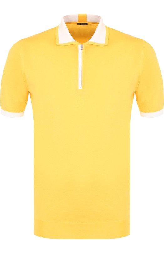 Купить Хлопковое поло с короткими рукавами Kiton, UK571E18V6000, Италия, Желтый, Хлопок: 100%;