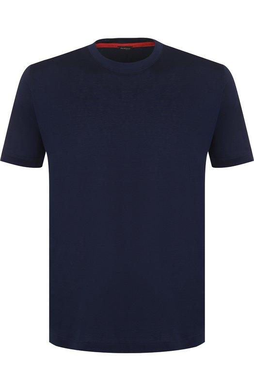 Купить Хлопковая футболка с круглым вырезом Kiton, UK843/ME18769S008, Италия, Темно-синий, Хлопок: 100%;