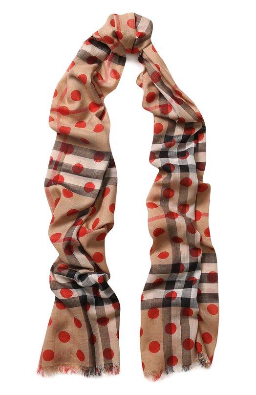 Купить Шарф из смеси шерсти и шелка в клетку Burberry, 4067746, Италия, Красный, Шерсть: 51%; Шелк: 49%;